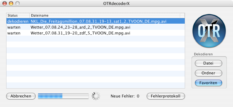 Screenshot von OTRDecoderX