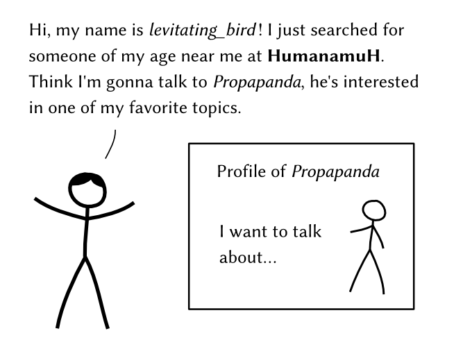 Hi, my name is levitating_bird! I just searched for someone of my age near me at HumanamuH. Think I'm gonna talk to Propapanda, he's interested in one of my favorite topics. – Profile of Propapanda: I want to talk about…